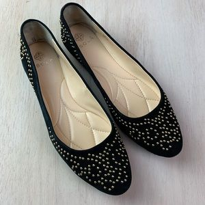 Isola black and gold studded flat   size 7